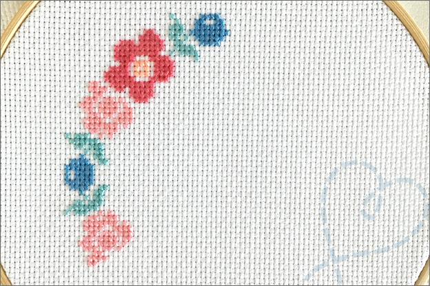 Borduren pasen bloemen konijn borduurpatroon