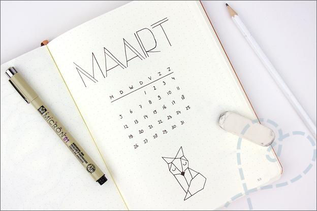 Bullet journal inspiratie cover maart geometrisch