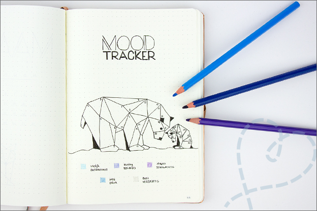 Bullet journal inspiratie maart mood tracker geometrisch
