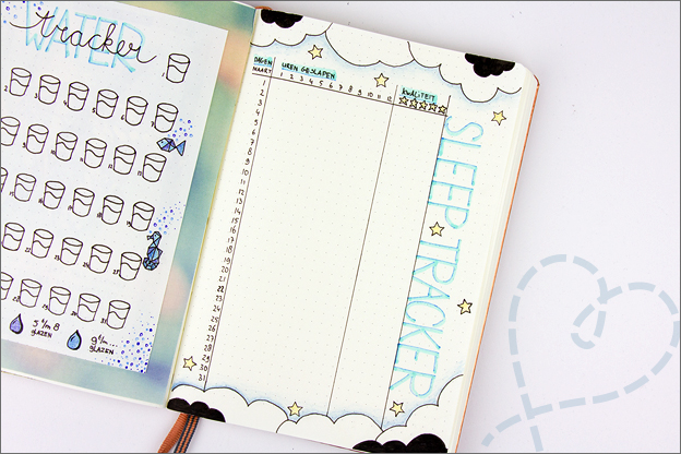 Bullet journal inspiratie maart sleep tracker