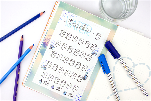 Bullet journal inspiratie water tracker maart