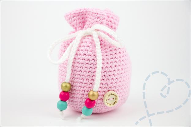 Haken tasje licht roze baby kruidentasje