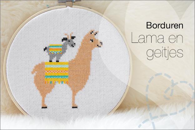 Borduren borduurpatroon Lama Alpaca geitje