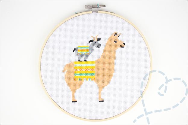Borduren lama alpaca geitjes eindresultaat