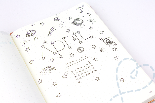 Bullet Journal inspiratie april cover ruimte
