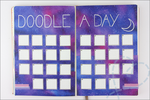 Bullet Journal inspiratie april doodle a day pagina