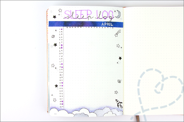 Bullet Journal inspiratie april sleeplog
