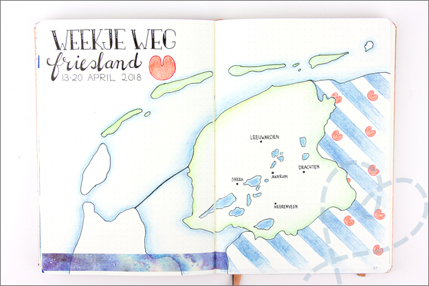 Bullet Journal inspiratie april vakantiepagina friesland