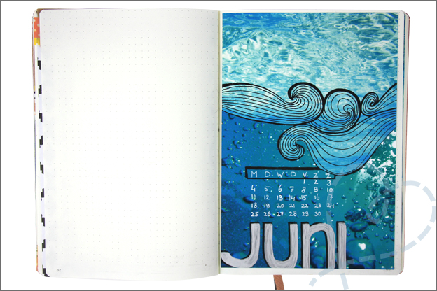 Bullet journal juni cover water