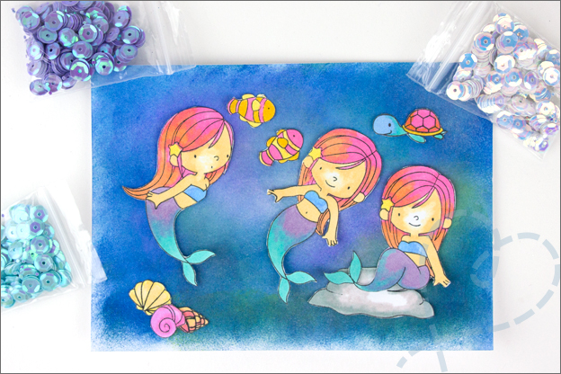 Kaart zelfgemaakt onderwaterwereld zeemeermin samenstellen