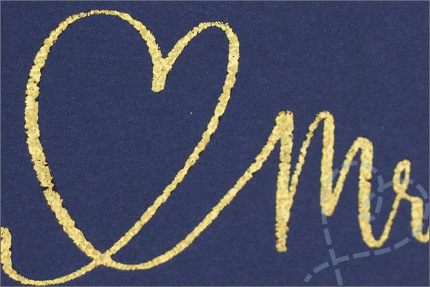 kaart bruiloft keuze eindresultaat goud glitter folie