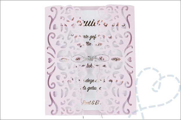 kaart bruiloft zelfgemaakt eindresultaat