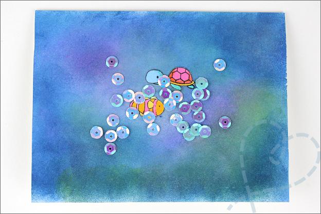 zelfgemaakte kaart water pailletjes vissen