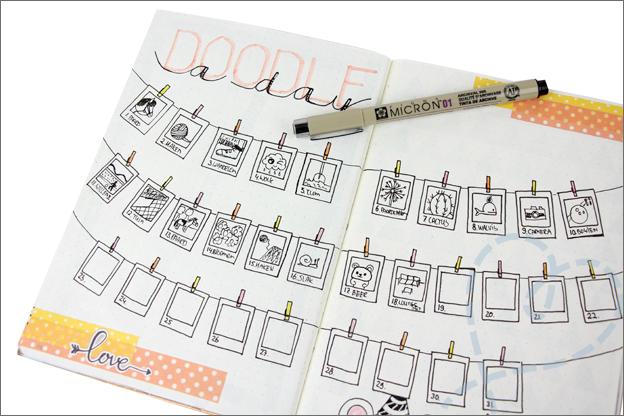 Bullet Journal maand mei doodle a day ingevuld