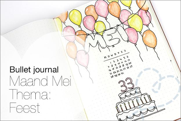 Bullet journal inspiratie maand mei verjaardag feest