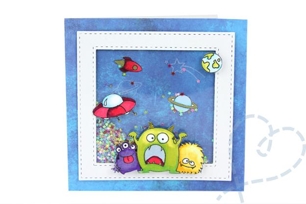 Schudkaart Ruimte monsters jongen verjaardagskaart kaart6