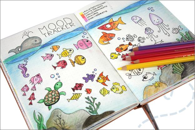 Bulet journal juni moodtracker uitgewerkt vissen
