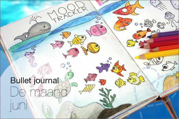 Bullet journal juni voorbeeld thema water vissen