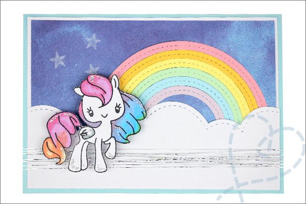 zelfgemaakte kaart eenhoorn set1 sterren regenboog