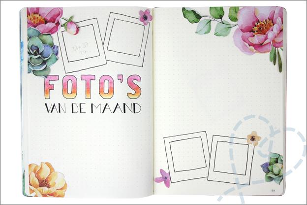Bullet journal juli bloemen foto maand