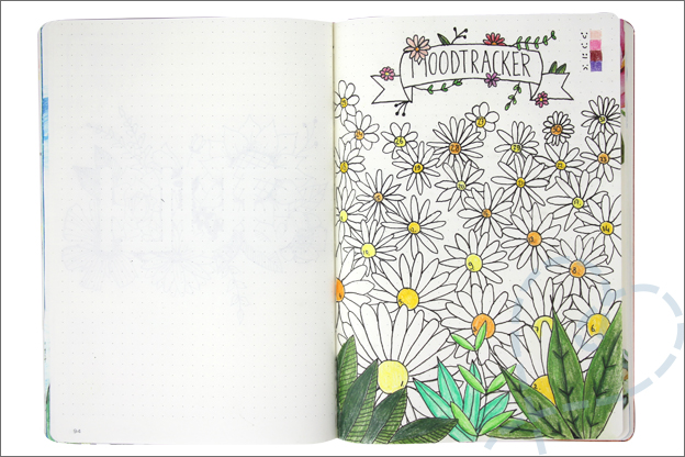 Bullet journal juli moodtracker bloemen flowers