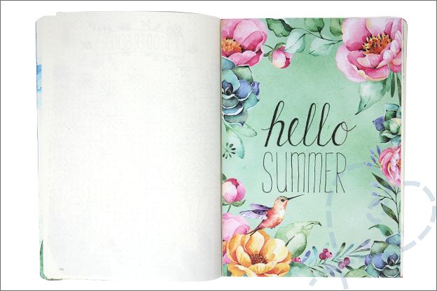 Bullet journal juli zomer bloemen quote