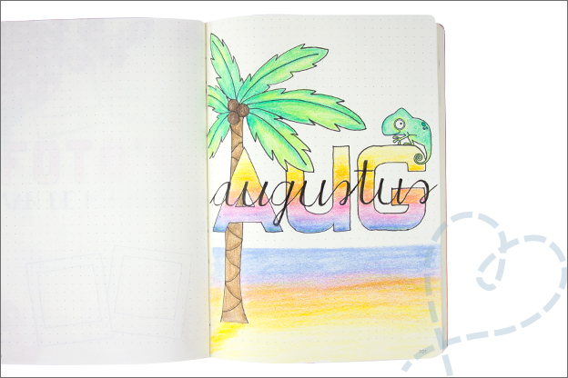 Bullet journal augustus cover zomer hawaii tropisch
