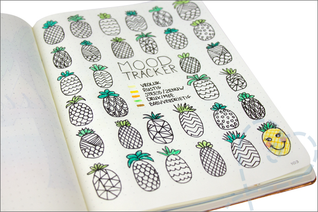 Bullet journal augustus mood tracker ananas