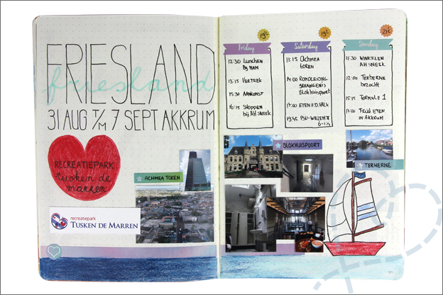Bullet journal vakantie pagina Friesland