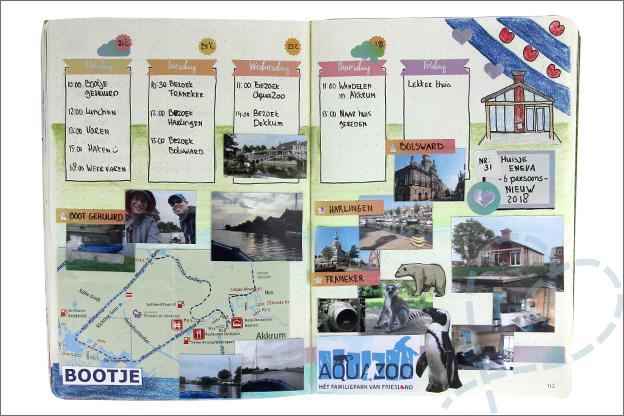 Bullet journal vakantie pagina Friesland foto's