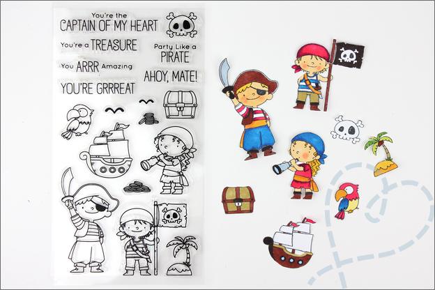 Piraten kaarten maken stempelen clear stamps