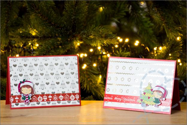 Zelf kerstkaarten knutselen set 1 clear stamps twinmarkers
