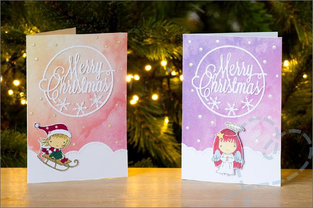 Zelfgemaakte kerstkaarten inspiratie knutselen set 2 aquarel achtergrond