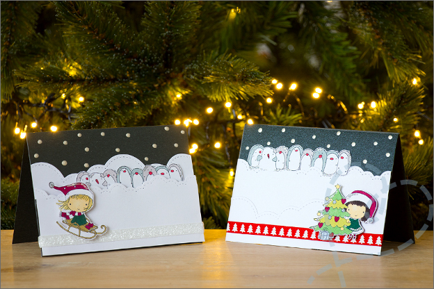 Zelf kerstkaarten knutselen set3 3D kaarten clear stamps