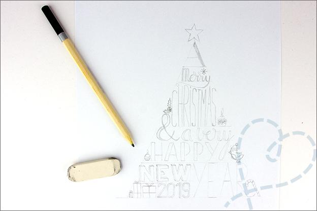 zelfgemaakte kerstkaarten schetsen potlood