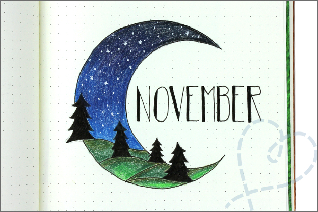 Bullet journal november cover thema bomen bos