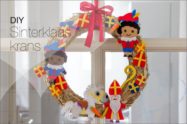 DIY Sinterklaas krans knutselen vilt uitleg