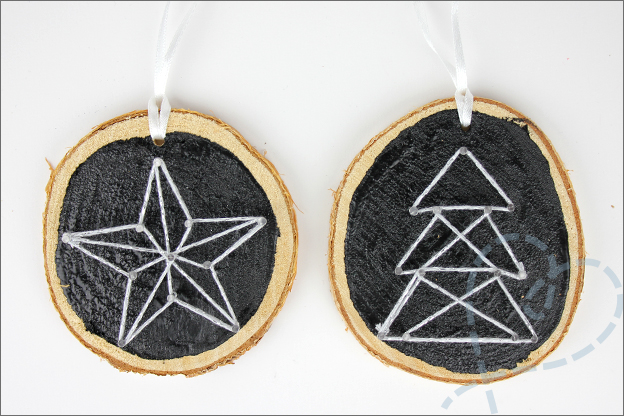 DIY kerstbal string art eindresultaat