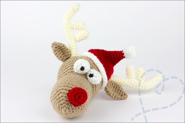 Haken kersthert tobi hoofd gewei kerstmuts