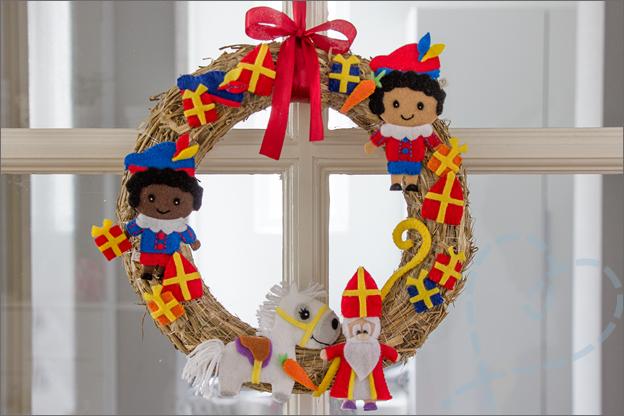 Tutorial Sinterklaas krans DIY voorbeeld vilt