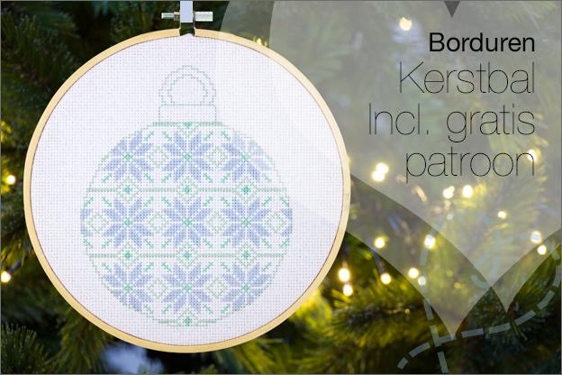 Borduren kerst kerstbal eigen gratis patroon
