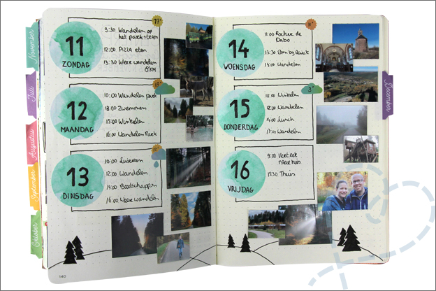 Bullet journal november vakantie pagina