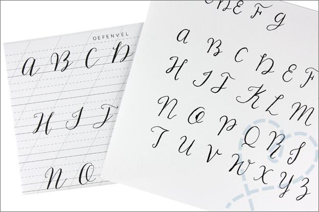 MUS kalligrafie set lettertypes oefenen