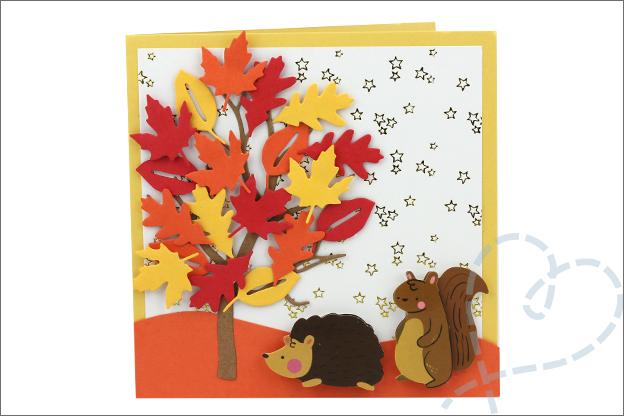 Action kaarten maken snijmal boom bladeren