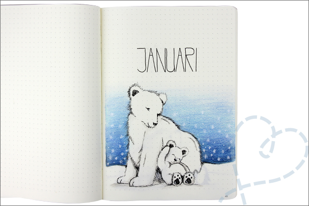 Bujo januari cover winter ijsbeer pinguïn