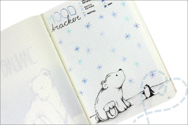 Bujo januari mood tracker sneeuw
