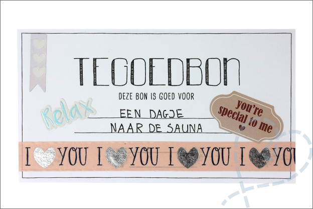 DIY Valentijn tegoedbon maken action stickers washi tape