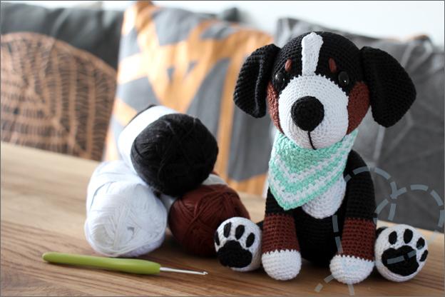 Haken hondjes van sokkenwol Balou Berner sennen