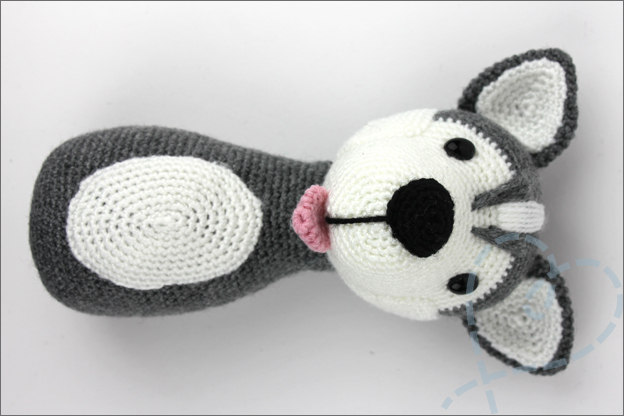 Haken husky sokkenwol hoofd lichaam