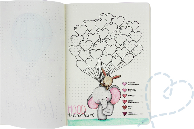 Bujo februari moodtracker Valentijn hartjes